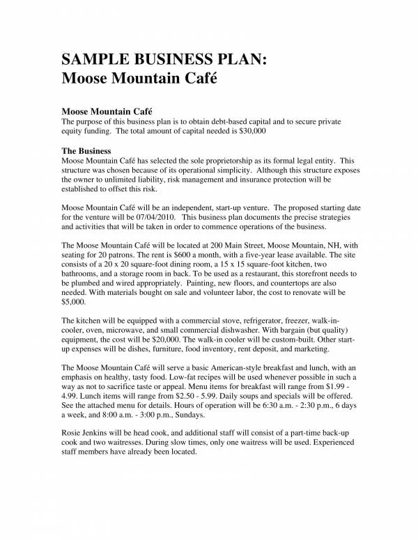 mountain cafe business operational plan 01