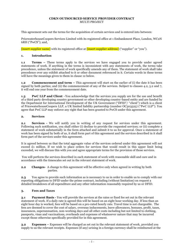 outsourced service provider agreement 01