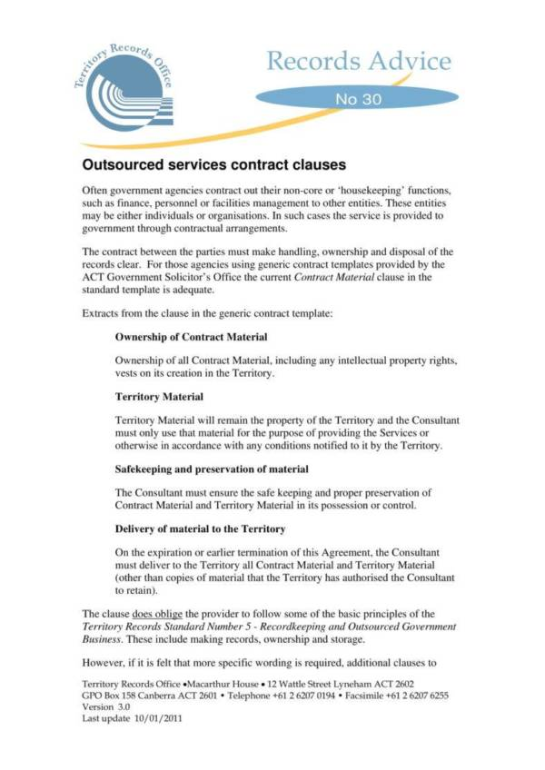 outsourced services contract clauses