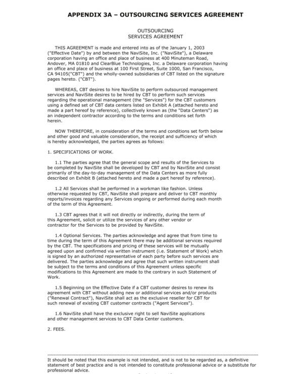 outsourcing services agreement sample template 01