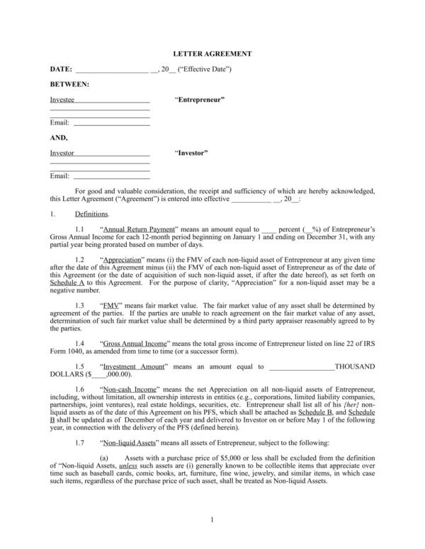 personal investment agreement 1