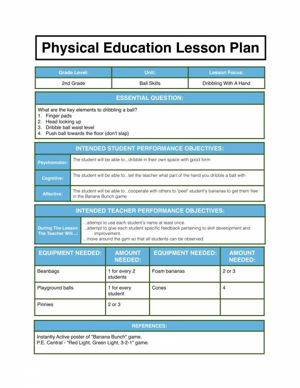 physical education lesson plan 1