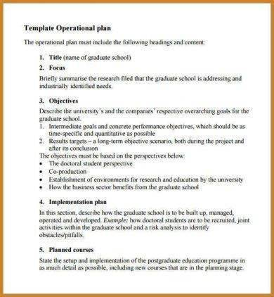 primary school operational plan template