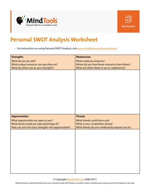 printable employee personal swot analysis template 1