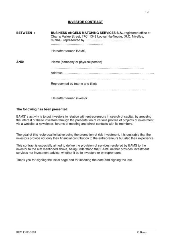 printable investor agreement template 1
