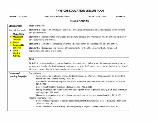 free 10  physical education lesson plan samples in pdf