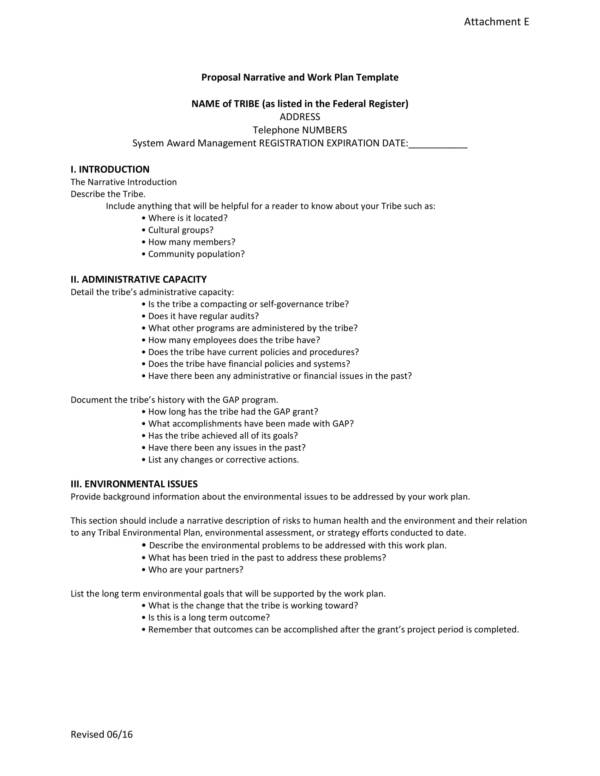 proposal narrative and work plan template 1