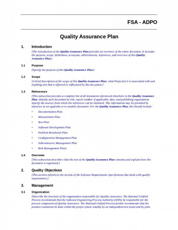 quality assurance plan templates