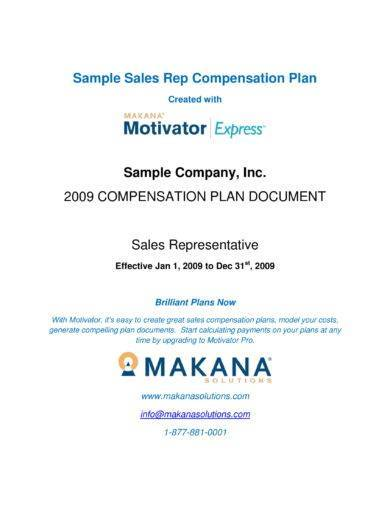 sales rep compensation plan discussion flow and content layout