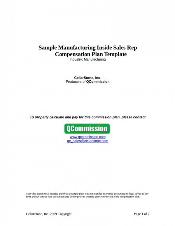 sample manufacturing inside sales rep compensation plan template
