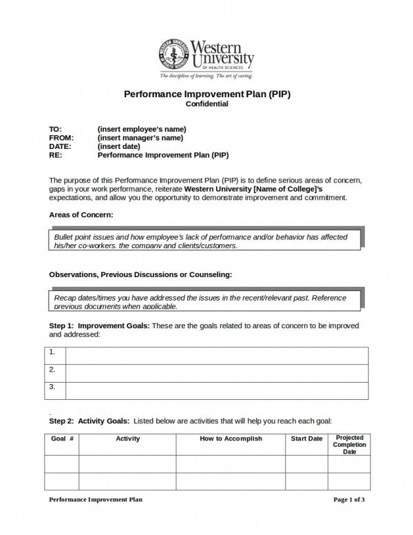 sample performance improvement work plan template
