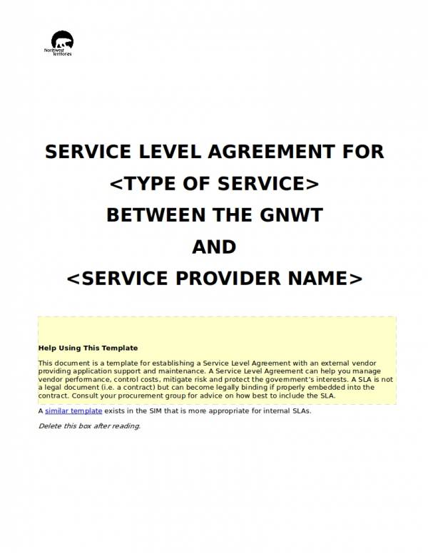 service level agreement for outsourced support