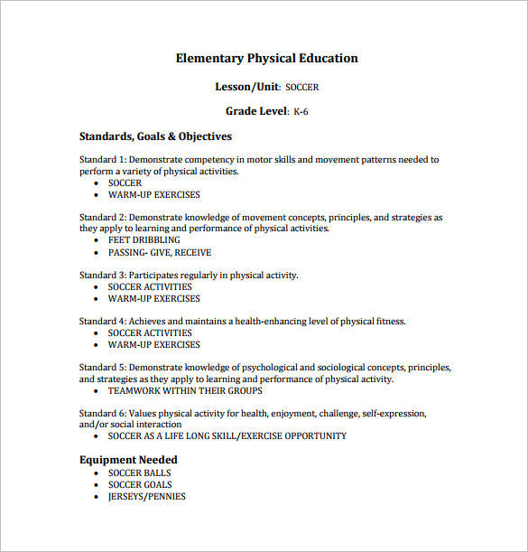 soccer physical education lesson plan