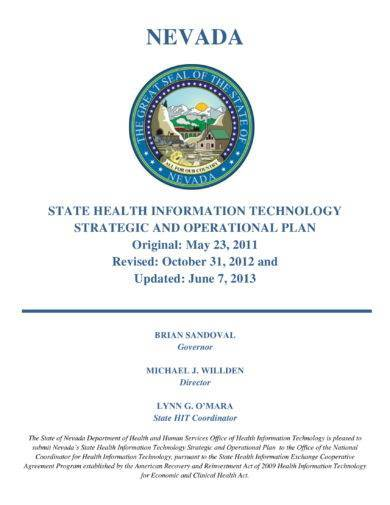 state health information technology strategic and operational plan