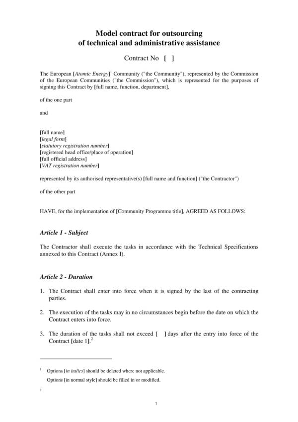 technical and administrative assisatance outsourcing services agreement 01