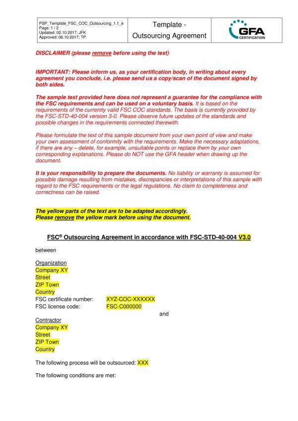 template for outsourcing services agreement 1