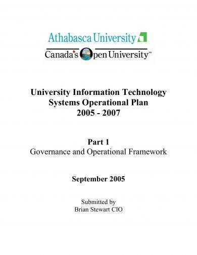 university information technology systems operational plan