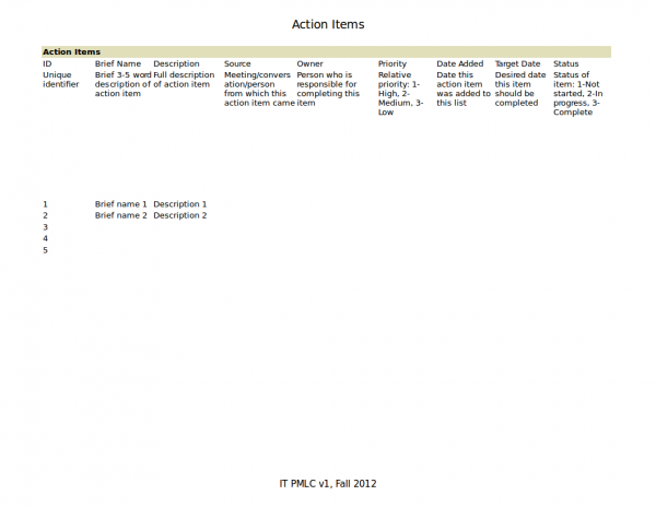 action items tracking template
