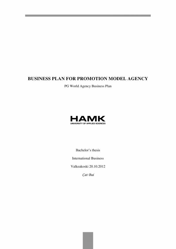 advertising business plan for model agency 01