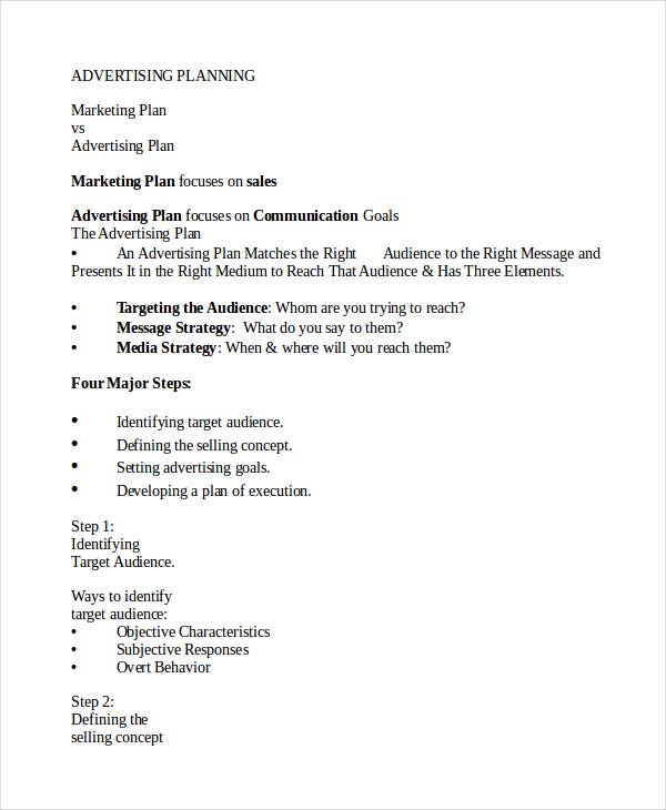 advertising and marketing plan template