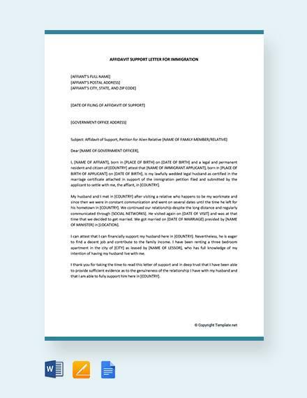affidavit of support letter for immigration