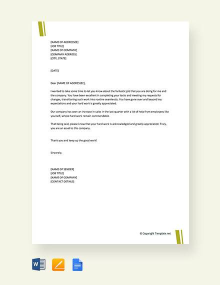 Appreciation-Letter-for-Good-Work Sample Collection Letter Templates on character reference, professional cover, company introduction, employment termination, for kids, campaign fundraising, donation request, business proposal, insurance cancellation, university petition, employee termination,