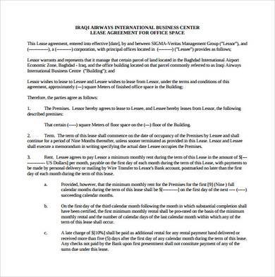 basic office lease agreement template