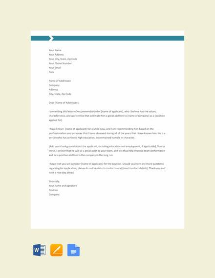 basic recommendation letter template