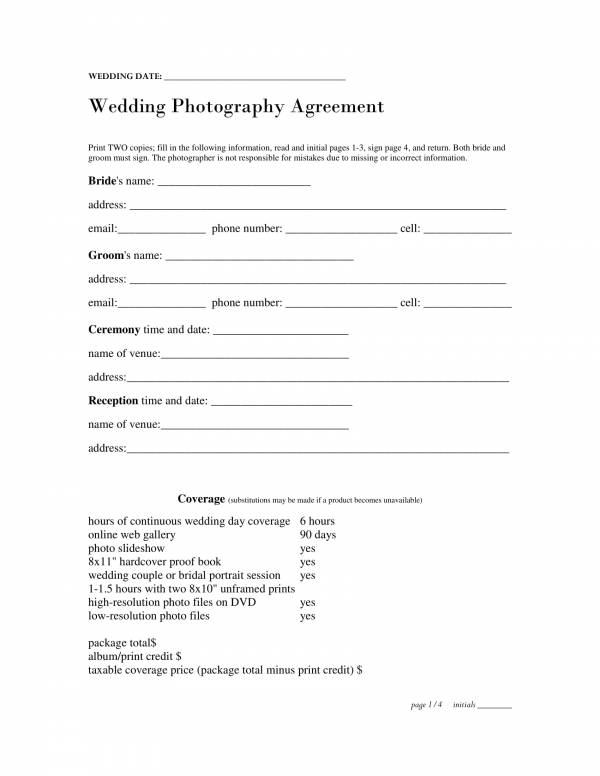 basic wedding photography agreement contract template 1