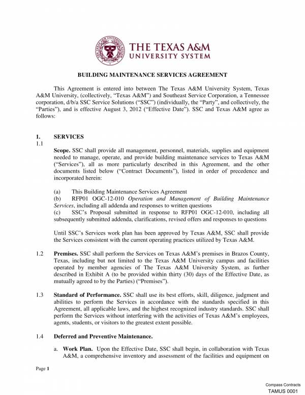 building maintenance service agreement contract 01