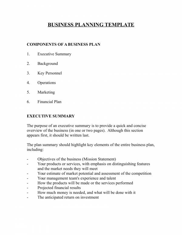 business plan sample template 1