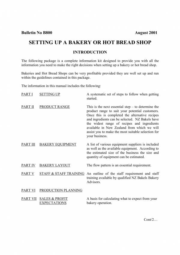 business plan for setting up a bakery or hot bread shop 01