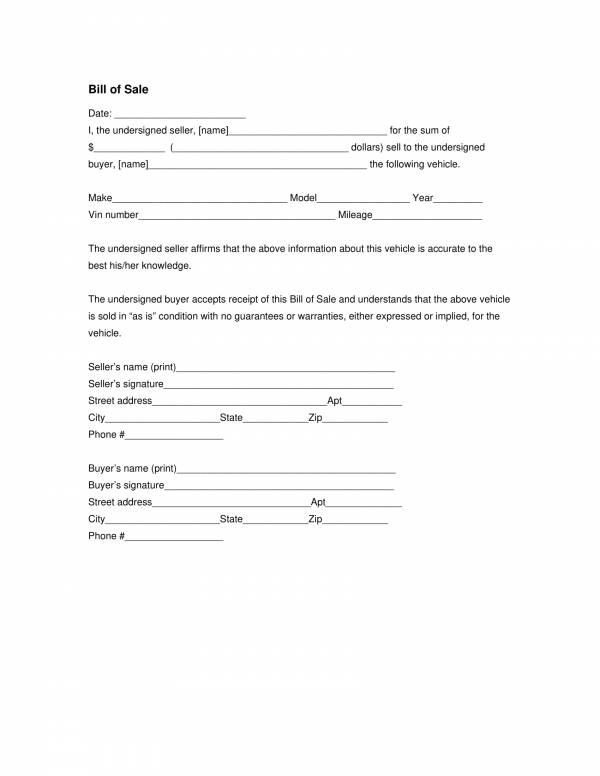 car bill of sale template 1