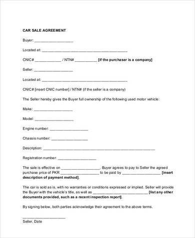 9 auto sales contract template pdf