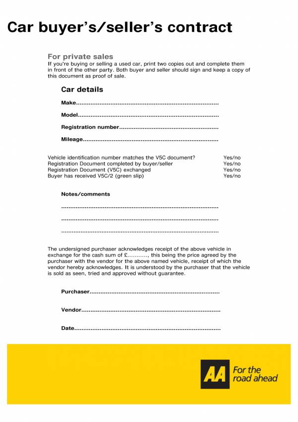 car sellers contract template 1