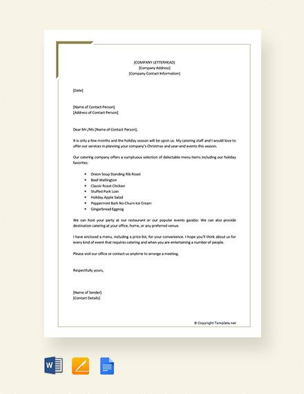 catering company proposal letter