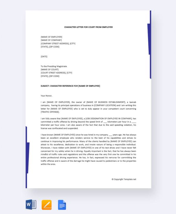 character letter for court from employer