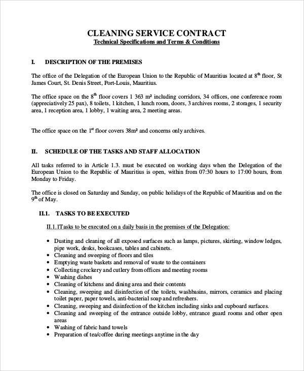 cleaning company service contract template