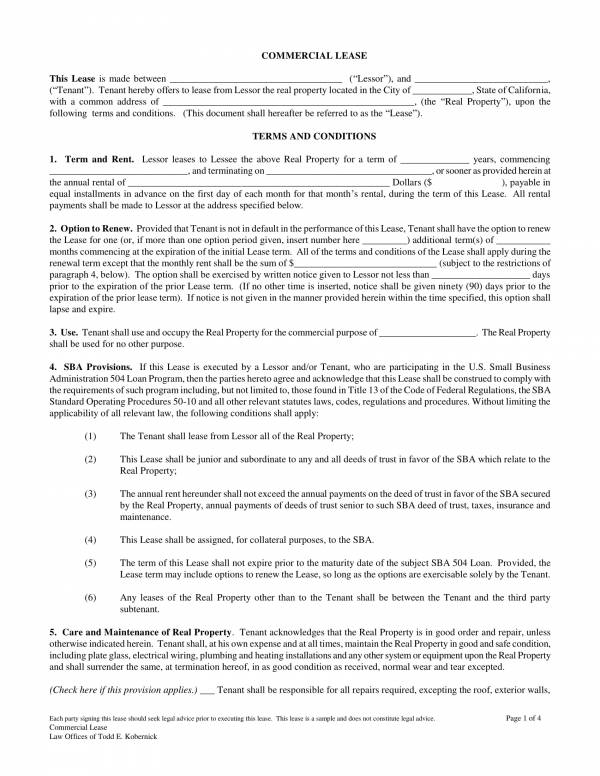 commercial office lease agreement template 1