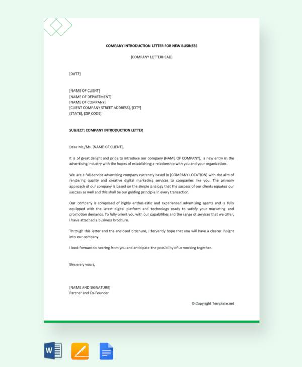 company introduction letter for new business1