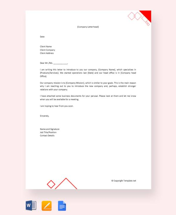 company introduction letter to client