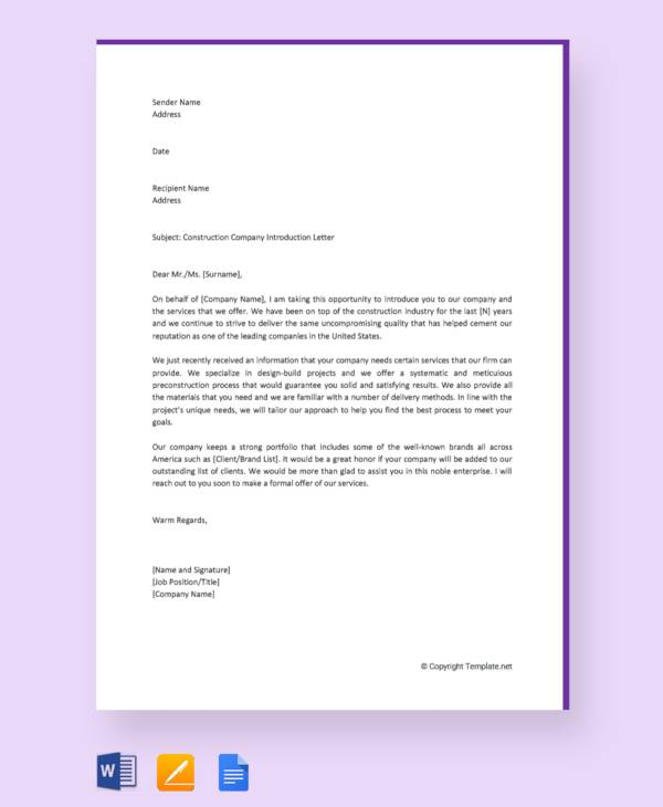 construction company introduction letter