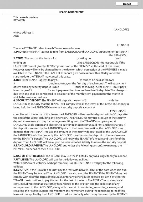 convenient lease agreement template 1
