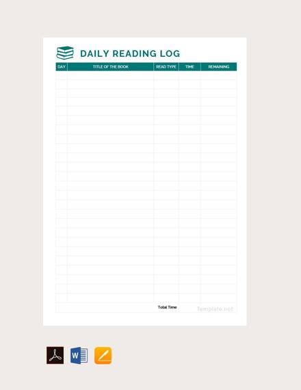 daily reading log template