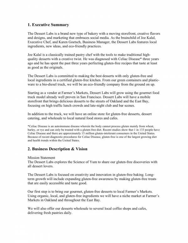 dessert bakery business plan sample 03