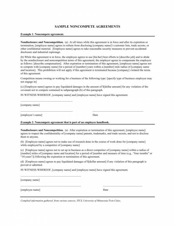 employee non compete sample agreements 1