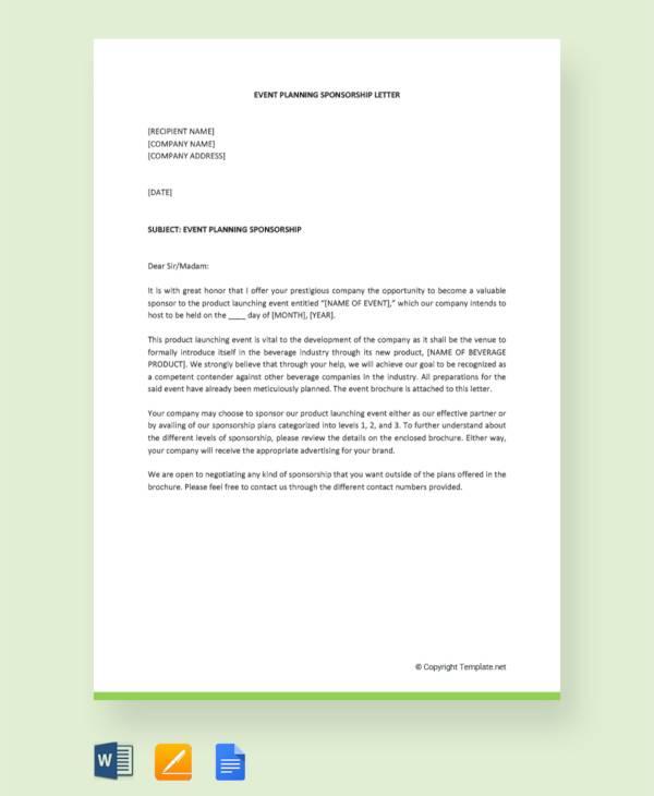 event planning sponsorship letter