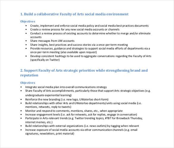 faculty of arts social media strategy and planning tool
