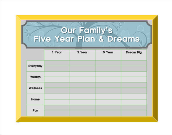 family five year plan template