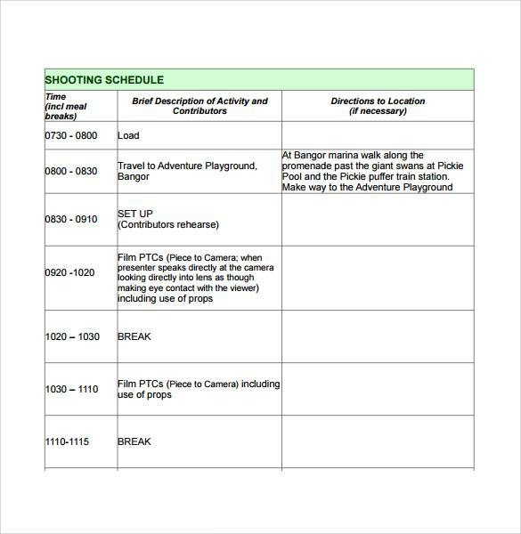 film production plan schedule template